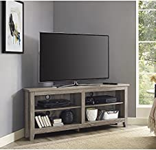 Walker Edison Milton Classic 2 Shelf Corner TV Stand for TVs up to 65 Inches, 58 Inch, Driftwood