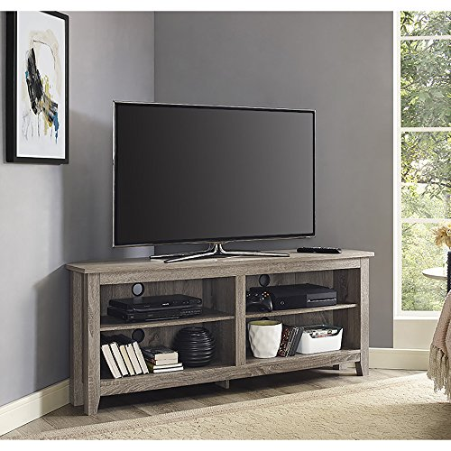 "Walker Edison Furniture Company Simple Farmhouse Wood Corner Stand for TV's up to 65"" Living Room Storage Shelves Entertainment Center, 58"", Driftwood"