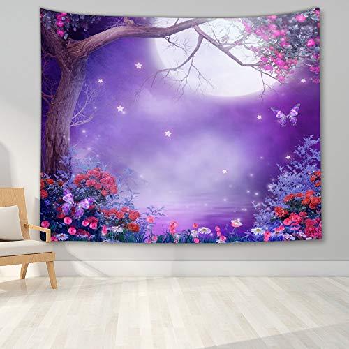 KHKJ Tapiz de Paisaje Nocturno Decoración de Dormitorio Tapiz de árbol Forestal Manta Colgante de Pared para decoración de Dormitorio Decoración de Fiesta de Dormitorio A10 200x180cm