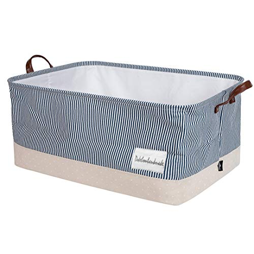 DOKEHOM 22-Inches Thickened X-Large Storage Basket -22x15x13 Inches- Drawstring Canvas Underbed Storage, Square Cotton Linen Collapsible Toy Basket (Navy Blue, XL)