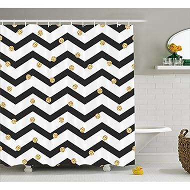 Ambesonne Chevron Shower Curtain, Zig Zag Symmetric Pattern with Golden Yellow Polka Dots Modern Minimalist Design, Fabric Bathroom Decor Set with Hooks, 70 Inches, Black White