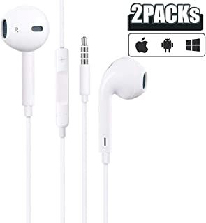 [Apple MFi Certified] Apple Earbuds with 3.5mm Headphone Plug(Built-in Microphone & Volume Control) in-Ear Headphone Headset Compatible with iPhone,iPad,Compter,MP3/4,Android Phone etc-2 Pack