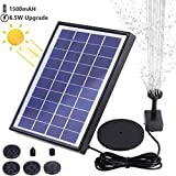 AISITIN 6.5W Solar Fountain Pump, Solar Water Pump Floating Fountain Built-in 1500mAh Battery, with 6 Nozzles, for Bird Bath, Fish Tank, Pond or Garden Decoration Solar Aerator Pump