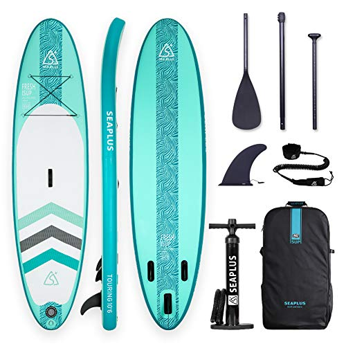 "SEAPLUS Tabla de Paddle Surf Hinchable Sup Inflatable Stand up Paddle Board CL-G 10'6""*32""*6"" con Inflador/Remo de Aluminio/Mochila/Leash/Fin, Carga hasta 130 Kg"