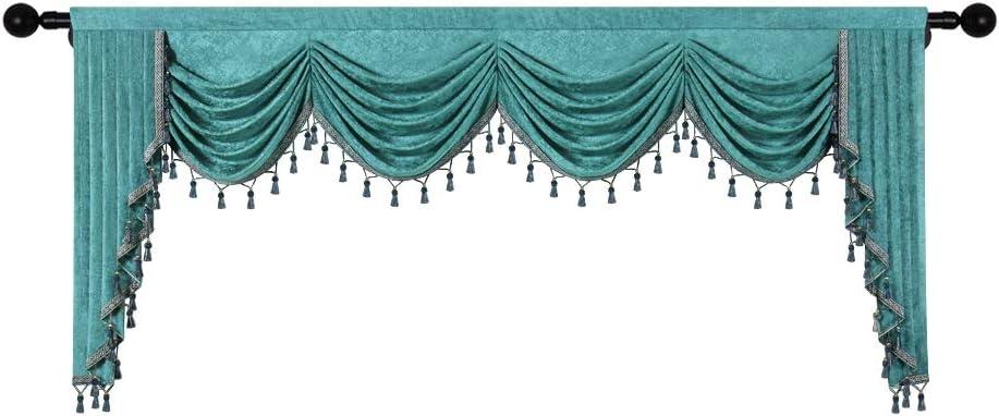 今ダケ送料無料 Thick Chenille Window Curtains Valance Living Turquoise for Room 早割クーポン