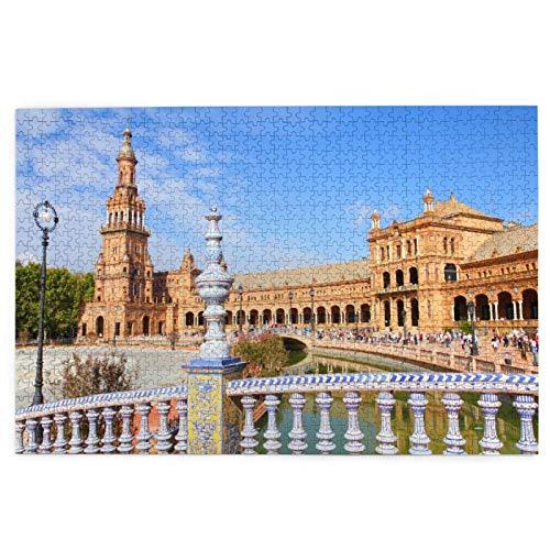 KIMDFACE Rompecabezas Puzzle 1000 Piezas,Famosa Plaza De España Sevilla España. Antiguo hito,Puzzle Educa Inteligencia Jigsaw Puzzles para Niños Adultos