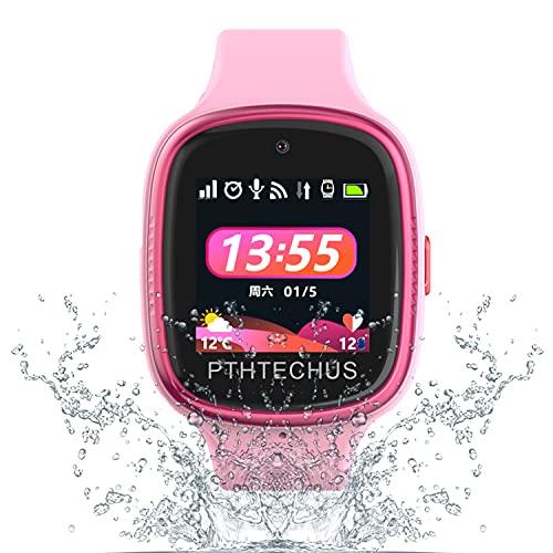 PTHTECHUS 4G Smartwatch Phone per Bambini, video chiamata Orologio WIFI+GPS Anti-perso Impermeabile IP68 e standby di 72 ore, Sveglia SOS per il Gioco di Orologio per bambini, regalo bambino 3-12 anni