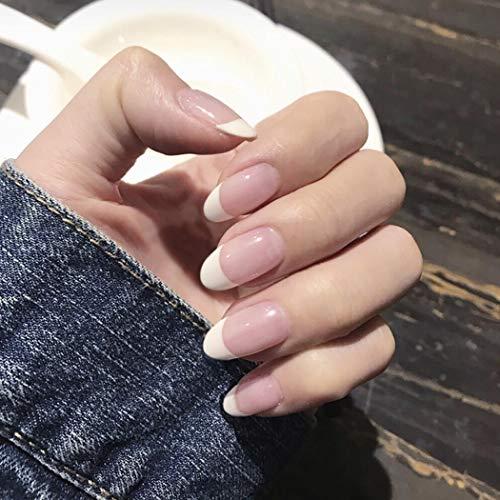 Ushiny Künstliche Fingernägel, Kunst-Design, volle Abdeckung, lang, für Frauen und Mädchen, Rosa und Weiß, 24 Stück