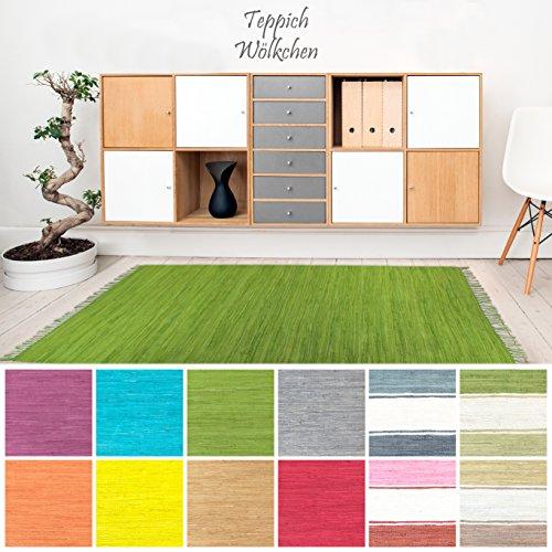 Handweb Flicken-Teppich aus Baumwolle | Geflochtene Indische Fleckerl Kelim Teppiche fürs Wohnzimmer, Küche, Schlafzimmer, Bad oder Flur Läufer| Einfarbig Bunt (Grün, 70 x 140 cm)