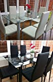 KOSY KOALA STUNNING BLACK GLASS KITCHEN DINING TABLE SET AND 6 BLACK FAUX LEATHER CHAIRS