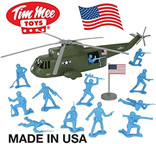 TimMee Plastic Army Men HELICOPTER Playset  Olive Grün 26pc - Made in USA by Tim Mee