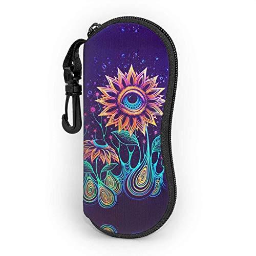 Trippy Alien Sunflowers - Funda suave para gafas de sol (neopreno, ultraligera, portátil, con cremallera, con clip para cinturón)