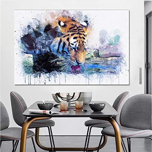 SADHAF Abstract diermotief en print op canvas, schilderij op canvas, creatieve tijger, drinkwaterfoto, decoratie voor woonkamer 40x50cm (senza cornice) A2.