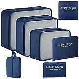 Onmaita Organizador Maleta, 7 en 1 Set de Organizador de Maletas con Diseño de Malla de Poliéster, Bolsas Organizadoras Maleta Impermeables para Ropa, Zapatos, Cosméticos (Azul Osculo)
