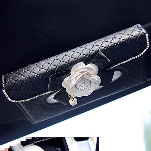 INEBIZ Luxury Leather Universal Car Sun Visor Tissue Holder Paper Towel Box Cover
