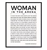 Daring Greatly Man/Woman In the Arena Quote Poster - 8x10 Famous Teddy Roosevelt Speech - 8x10 Motivational Inspirational Wall Art Decor - Uplifting Gifts for Women, Feminist, Entrepreneur