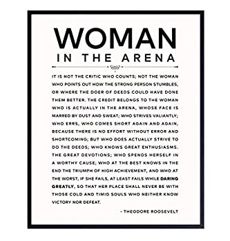 Daring Greatly Man/Woman In the Arena Quote Poster - 8x10 Famous Teddy Roosevelt Speech - 8x10 Motivational Inspirational Wall Art Decor - Uplifting Gifts for Women Feminist Entrepreneur