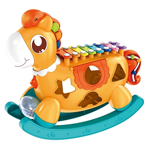 EXCEART Xylophone for Toddlers Kids Cartoon Pony Animal Xylophone Children Hammering Pounding Toys Early Educational Toy Percussion Musical Instruments Birthday Gifts Orange