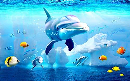BSDSASD - Cortina de ducha personalizada para cualquier tamaño 3D, diseño de delfín del mundo submarino, pescado, color azul