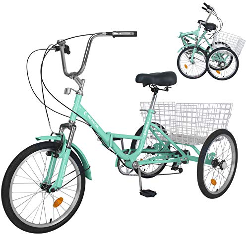 Adult Folding Tricycles, 20/24/26 inch Wheels 7 Speed Adult Tricycle, 3 Wheel Bike Cruiser Trike with Low Step-Through, Large Basket, Foldable Tricycle for Adults, Women, Men Exercise Shopping