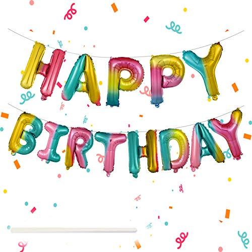 """Striscione per palloncini con scritta """"Happy Birthday"""", 40,6 cm, autogonfiabile, 13 pezzi, motivo: lettere dell'alfabeto arcobaleno, per ragazze e ragazzi 1° 18° 21° 30° qualsiasi età"""