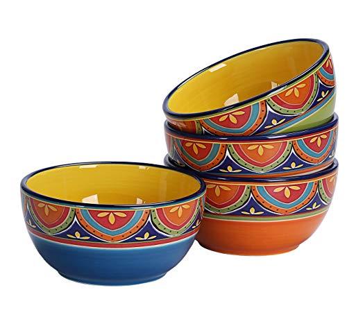 Bico Tunisian 26oz Ceramic Cereal Bowls Set of 4, for Pasta, Salad, Cereal, Soup & Microwave & Dishwasher Safe