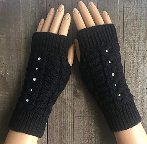 Fingerless Gloves for Women Black Cable Knit Rhinestone Arm Warmers White Beige Green Burgundy Red Winter Mittens Hand Warmers Handmade
