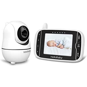 Baby Monitor, HelloBaby Video Baby Monitor with Remote Pan-Tilt-Zoom Camera and Audio, 3.2'' Display, Infrared Night Vision, Temperature Display, Ideal for New Moms