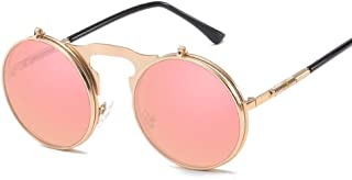 SGJFZD Men Women Vintage Retro Sunglasses Polarized Light Metal Full Frame General Purpose Sunscreen UV400 TAC (Color : Gold+Powder)