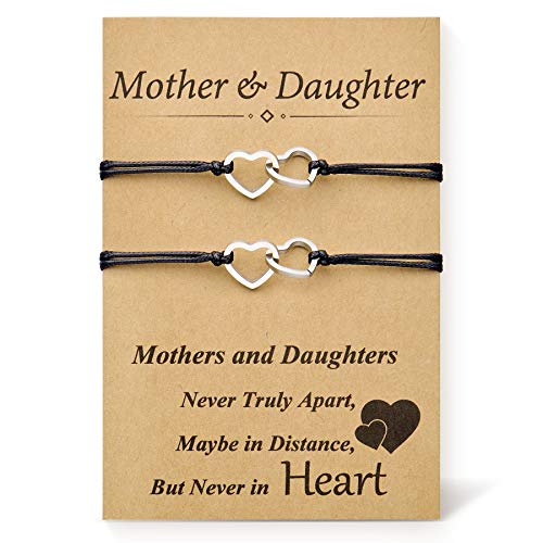 DESIMTION Mom and Daughter Bracelets Set for 2 Mommy and Me Heart Matching Wish Bracelets Daughter Gift from Mom