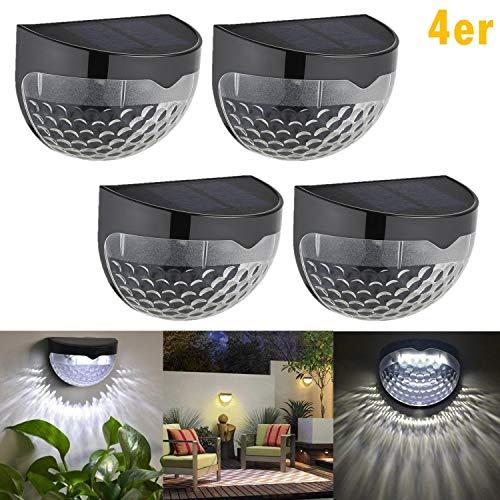 4 Stück LED Solarleuchte mit 6 LED-Lampen,Gartenleuchte,Outdoor Solar Wandleuchte,Halbkugel,Wasserdicht für Haus, Zaun, Garten, Garage, Schuppen, Treppe, Garten Deko und Außenbereich(4 Stück)