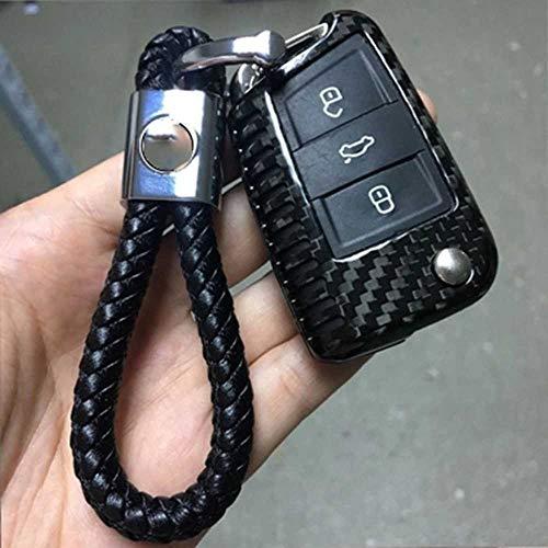 NASHDZ Carcasa de Fibra de Carbono para Llave de Coche, Carcasa Plegable con Tapa, Accesorios para Llave remota, Apta para VW Golf 7 MK7 Skoda Octavia A7 Seat Leon Ibiza