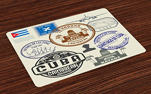 Lunarable Havana Place Mats Set of 4, Travel Concept Passport Stamp Design of Cuban Cities and Landmarks, Washable Fabric Placemats for Dining Table, Standard Size, Cobalt Blue