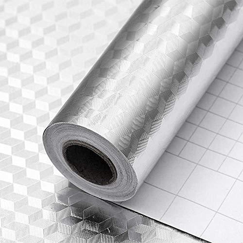 Kitchen-dream Papel Pintado Aluminio Adesivo Plata Fondos de Pantalla autoadhesivos Impermeables Pegatinas de Pared a Prueba de Humedad a Prueba de Aceite para Cocina Baño Cubo
