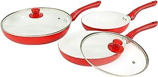 vidaXL Juego 3 Sartenes + 2 Tapas Vidrio Salida Vapor Revestimiento Cerámico Aluminio Lacado Difusor Térmico Set 5 Piezas Utensilios Cocina Rojo