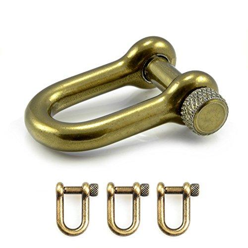 3er Set Schäkel aus Stahl, antik - Gold Metallic, mit hochwertigem Drehverschluss, für Paracord Armbänder, Kordeln etc, 33mm x 19mm (Größe M), U - Form - Marke Ganzoo