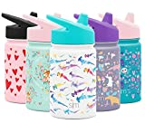 Simple Modern Kids Summit Sippy Cup Thermos 10oz - Stainless Steel Toddler Water Bottle Vacuum Insulated Girls and Boys Hydro Travel Cup Flask Watercolor Sharks Purple