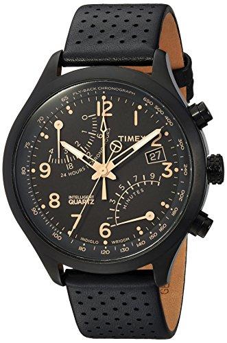 Timex Men's TW2R54900 Intelligent Quartz Fly-Back Chronograph Black Leather Strap Watch