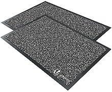 VOUNOT Juego de 2 Felpudos Entrada casa, Alfombra Exterior para Puerta, Impermeable Antideslizante Lavable, Alfombra para Interior y Exterior, 40x60cm, Antracita