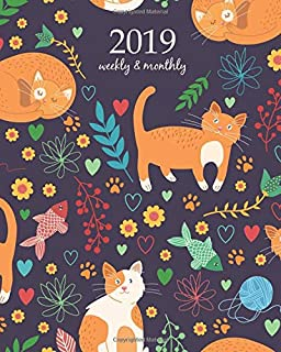 2019 Weekly Planner: Calendar Schedule Organizer and Journal Notebook With Inspirational Quotes And Seamless pattern with cute cats. Vector illustration (Weekly & Monthly Planner)