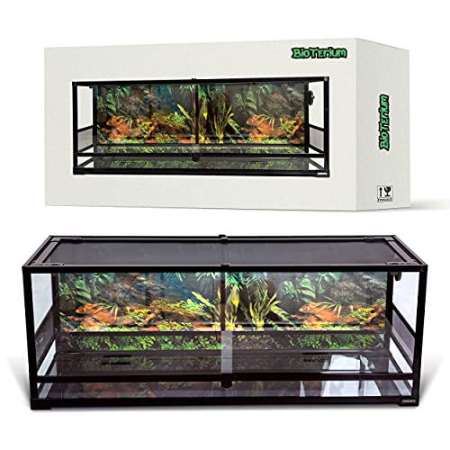 BIOTERIUM Reptile Tank | 48x18x18 Inch Glass Tank for Reptiles | 238L (63 Gal) | with Terrarium Background | Ideal to Use As Lizard Tank, Snake Cage, and Gecko Enclosure Kit