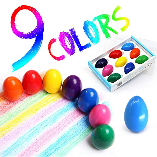 Egg Crayons for Toddlers - 9 Colors Washable Solid Egg Crayons for Baby Hand Grip, Safe, Non-Toxic, Not Dirty, Finger Crayons for Kids Infants, Baby, Children, Boys and Girl, Birthday Party (9 Colors)