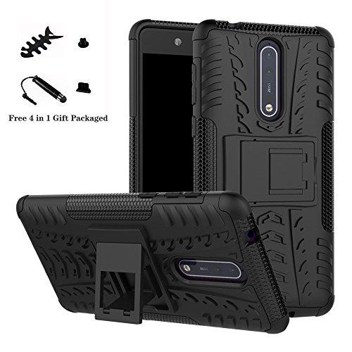 LiuShan Nokia 8 Hülle, Dual Layer Hybrid Handyhülle Drop Resistance Handys Schutz Hülle mit Ständer für Nokia 8 Smartphone (mit 4in1 Geschenk verpackt),Schwarz