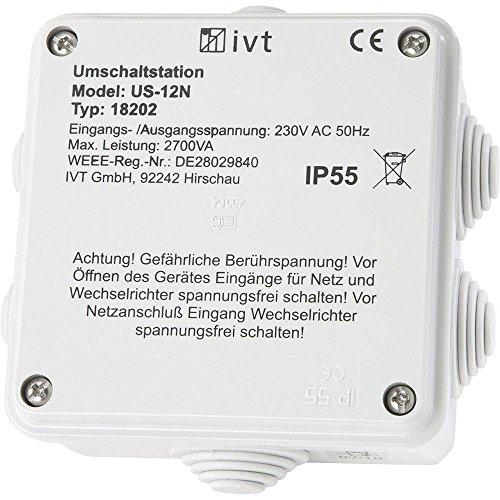 Unbekannt IVT Umschaltstation US-12N 2760 VA 18202 130 mm x 130 mm x 60 mm Passend für Modell (Wechselrichter):Universal