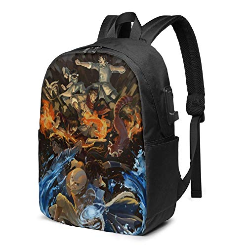 IUBBKI Men Women Packable Backpack with USB Charging Port, Water Resistant Big capacity SchoolBag, Book Bags Daypack for Outdoor Fishing Business, Avatar The Last Airbender Anime Poster