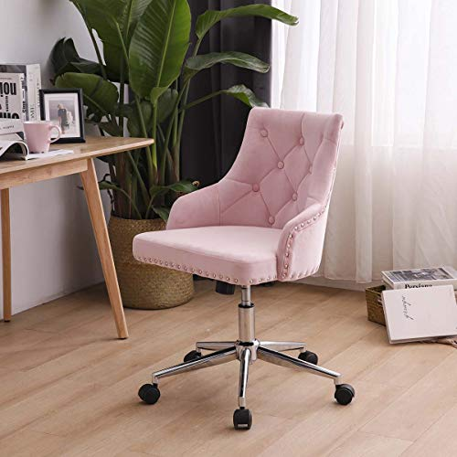 Zoyo Rose Chaise de Bureau en Velours Fille Ergonomique Fauteuil de Bureau Chaise D'ordinateur Pivotant pour Le Ttravail à Domicile Hauteur Réglable avec Fonction D'inclinaison Rose (Rose sans Bras)