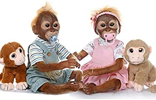 Anano Reborn Animal Dolls Twins Monkey Dolls, 21 Inches Realistic Simian Toddler Dolls?1 Pair Male and Female Monkey Doll ...