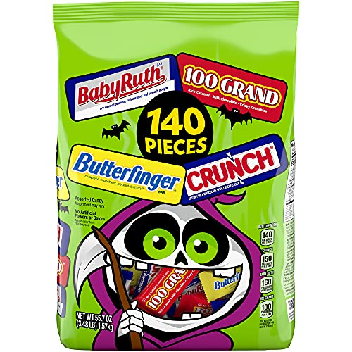 Butterfinger & Co. Bulk Chocolate-y Halloween Candy Bag, Mini and Fun Size Mix of 100 Grand, Butterfinger, Crunch & Baby Ruth for Trick or Treat Bags, Individually Wrapped Candy, 140 Count