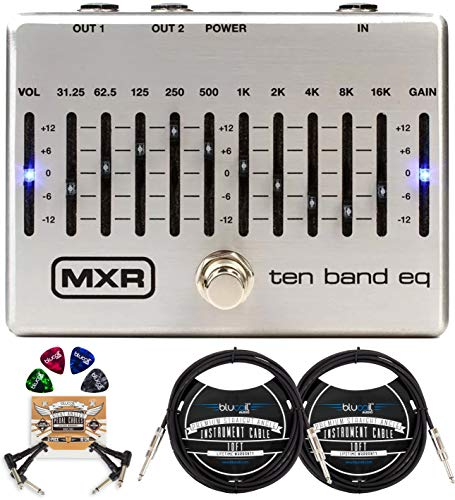 MXR M108S Ten Band EQ Pedal for Electric Guitar and Bass Bundle with Blucoil 2-Pack of 10-FT Straight Instrument Cables (1/4in), 2-Pack of Pedal Patch Cables, and 4-Pack of Celluloid Guitar Picks