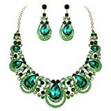 BriLove Costume Fashion Jewelry Set for Women Crystal Teardrop Hollow Scroll Statement Necklace Dangle Earrings Set Emerald Color Gold-Toned